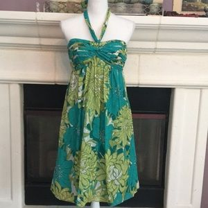 AT Gorgeous tropical floral halter/strapless dress